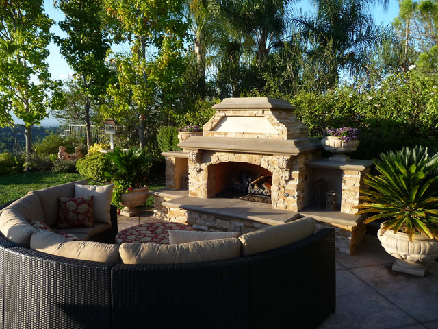 Multi Tiered Backyard : MultiTiered Stone and Tile Backyard Retreat  Mediterranean  Patio