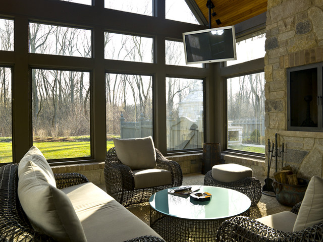French Country Screened Patio Room With Fireplace Traditional