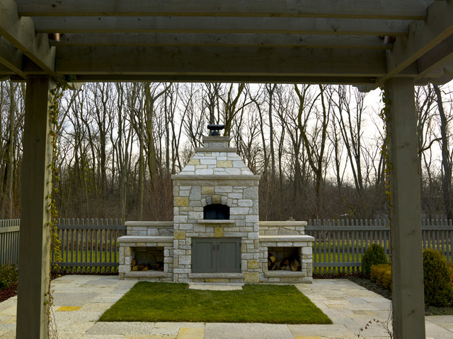 French Country - custom built wood burning oven traditional patio