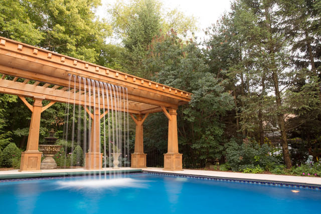 Naperville Gazebo Pergola Cabana with Waterfall Pool traditional-patio - Naperville Gazebo Pergola Cabana With Waterfall Pool - Traditional