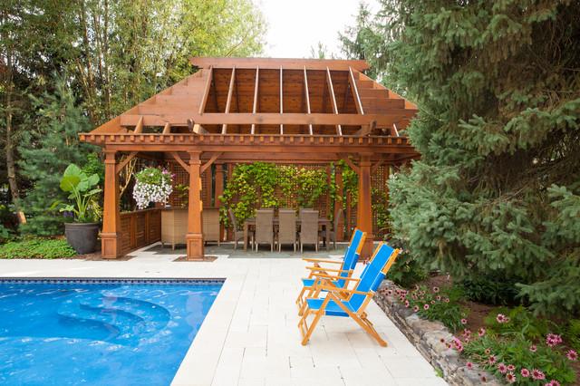 Naperville luxury custom gazebo pergola cabana pool for Custom pool cabanas