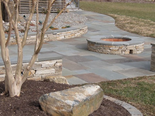 Natural Clef Flagstone Patio   Veener Stone Sitting Walls   Custom Fire Pit  Traditional Patio