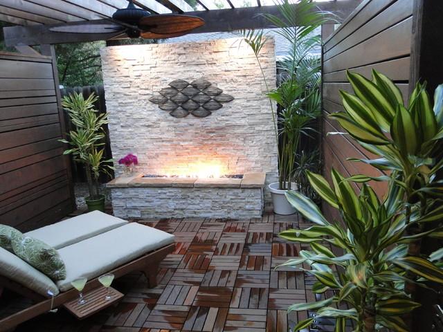 Natural Outdoor Fireplace PatioTropical Patio, Hawaii