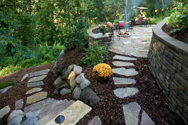Natural Stone Patio, Path, And Steps Traditional Patio