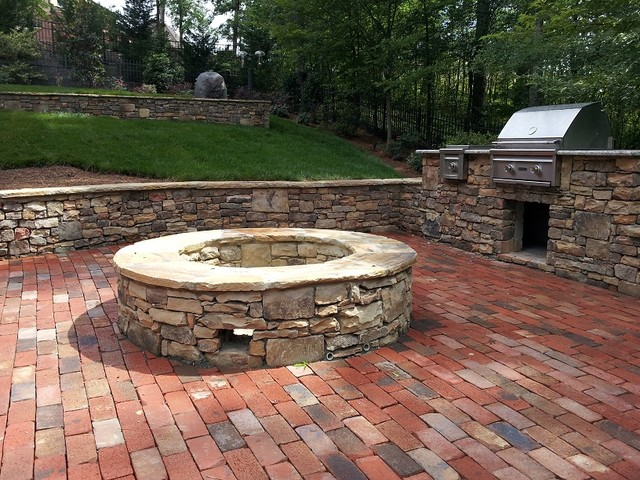 Natural Stone Retaining Wall, Brick Patio, Outdoor Grill U0026 Fire Pit  Traditional Patio