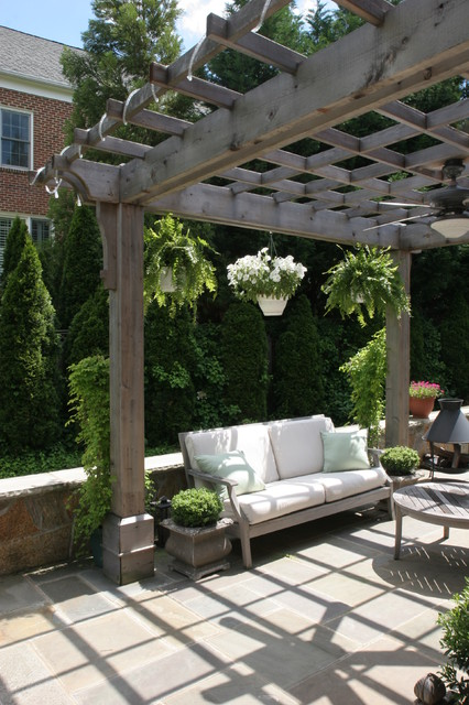 Natural Wood Pergola With Hanging Plants Over Flagstone Patio Contemporary Patio Dc Metro By Land Art Design Inc