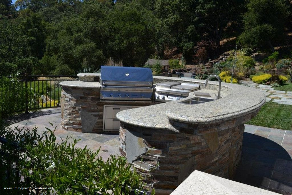 Naturalistic Hillside Infinity Pool and Spa with Waterfall in Pleasanton, CA