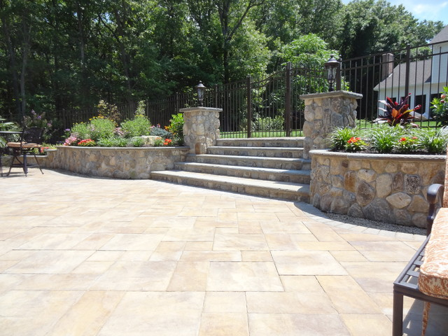 Natural Stone Patio : New york tropical outdoor entertaining space with natural