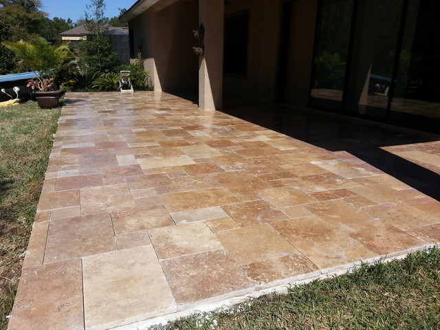 Noce Travertine French Pattern Patio Remodels