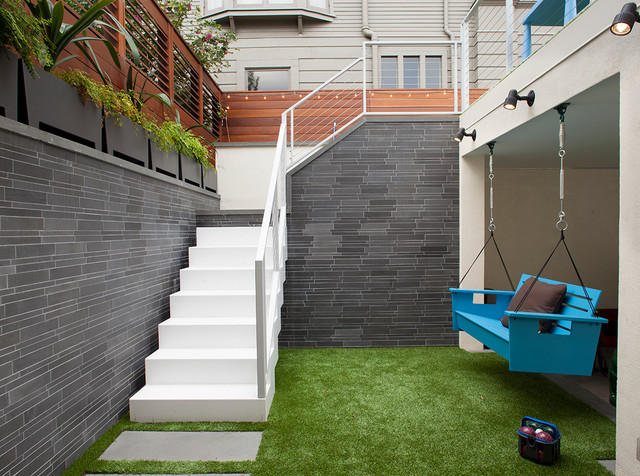Beautiful Outdoor Stairs And Hanging Bench Contemporary Courtyard