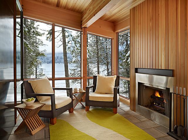 North Lake Wenatchee Cabin sun room rustic-patio