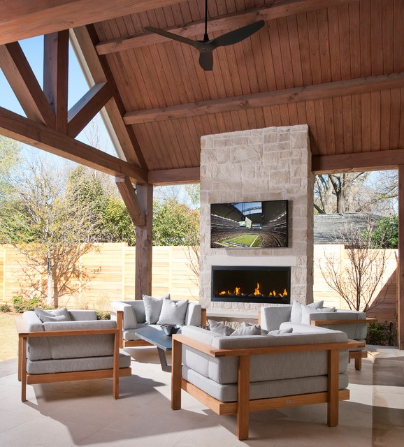 Inspiration For A Contemporary Patio Remodel In Dallas With Fire Pit