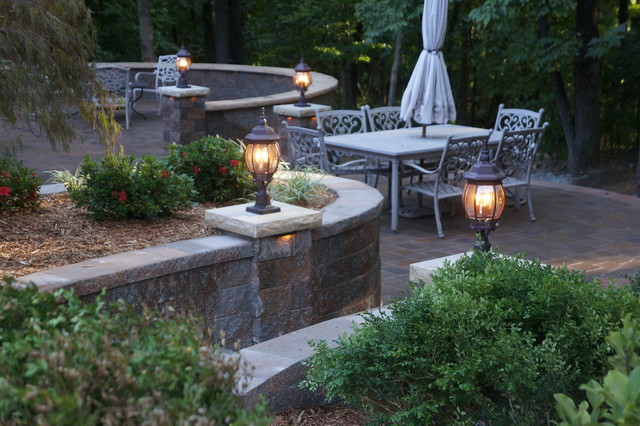 Northland patio and Waterfall traditional-patio