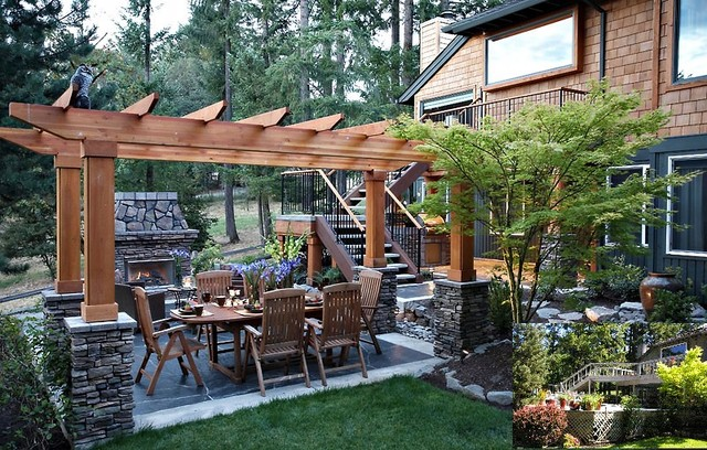 Northwest Contempory Exterior Remodel traditional patio