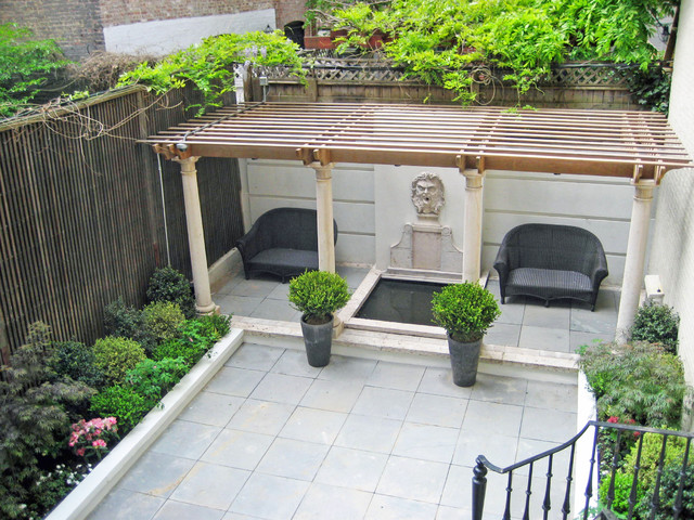 NYC Townhouse Garden: Backyard, Patio, Bluestone, Fountain, Pergola ...