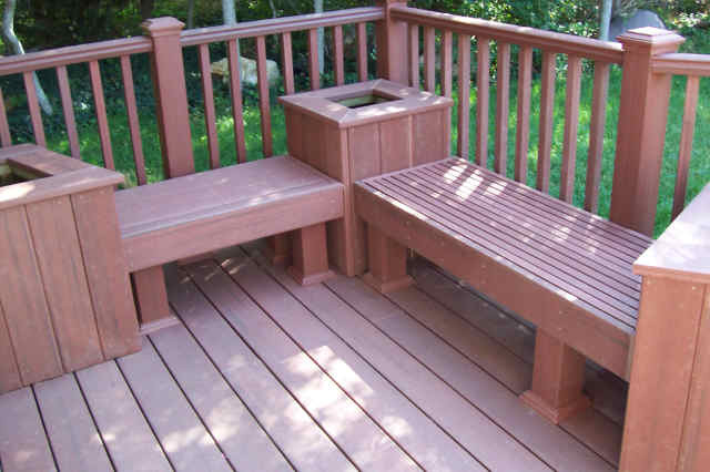 One Level Trex Accents® Saddle Wood Deck With Lighting And Gate Traditional  Patio