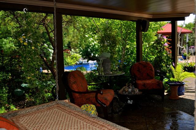 Ontario Tropical Backyard Paradise Traditional Patio