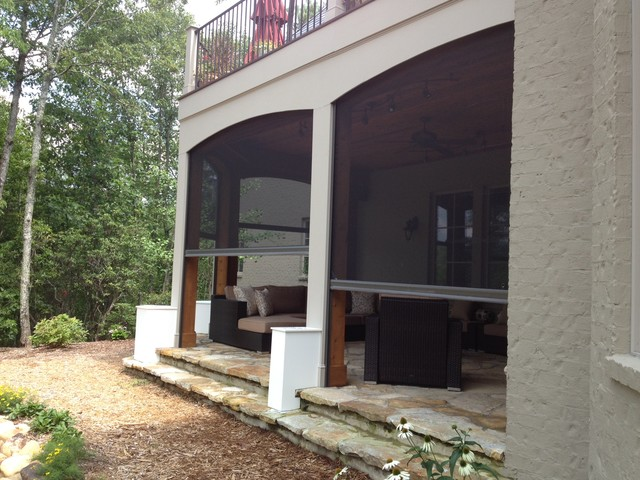 Open Porch Upper Level With Retractable Screens Lower Level