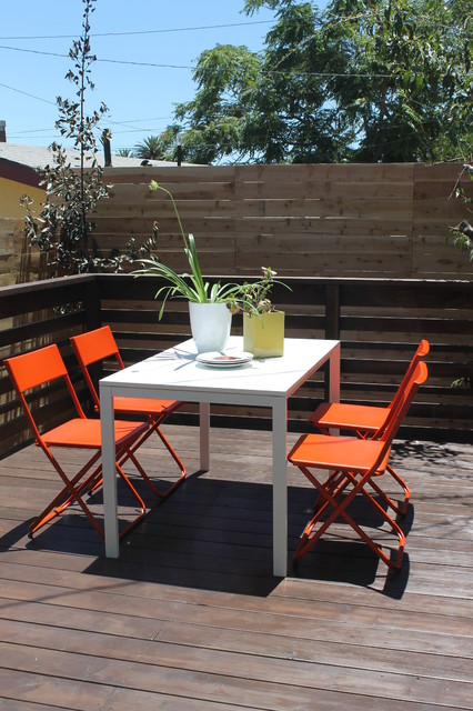 Orange and White Deck Furniture with IKEA Chairs and Table Modern Patio