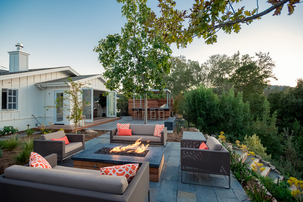 Patio - country patio idea in San Francisco with a fire pit and no cover