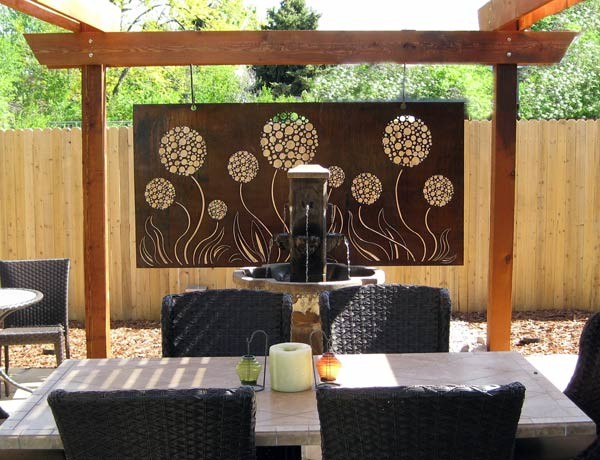 Modern Wall Decor For Patio : Outdoor allium steel art panel with natural rust patina
