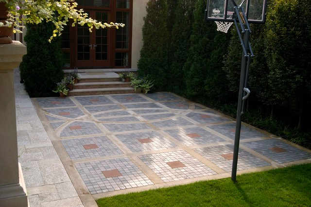 Outdoor basketball court traditional patio chicago for Cost to build a backyard basketball court
