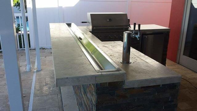 Kitchen Island Kegerator outdoor bbq & bar w/ kegerator and fire pan on bar - rustic