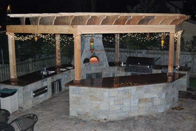 Outdoor bbq kitchens cabana pergolas patio austin for Outdoor kitchen under pergola