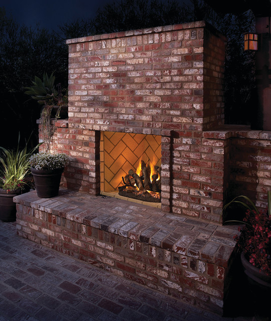 Outdoor brick fireplace - Rustic - Patio - Albuquerque - by Builders Materials