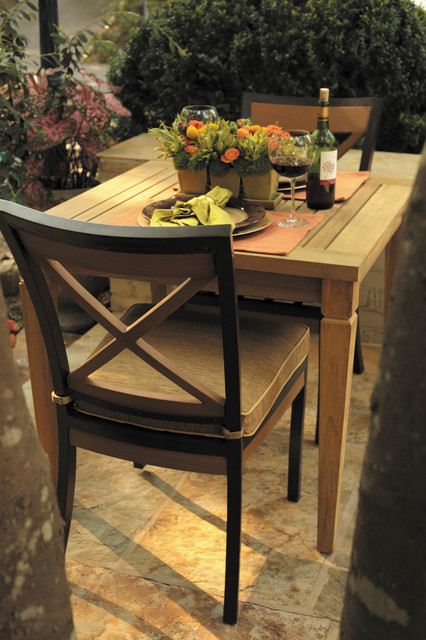 Outdoor Chairs Of Aluminum And Resysta And Teak Table Traditional Patio