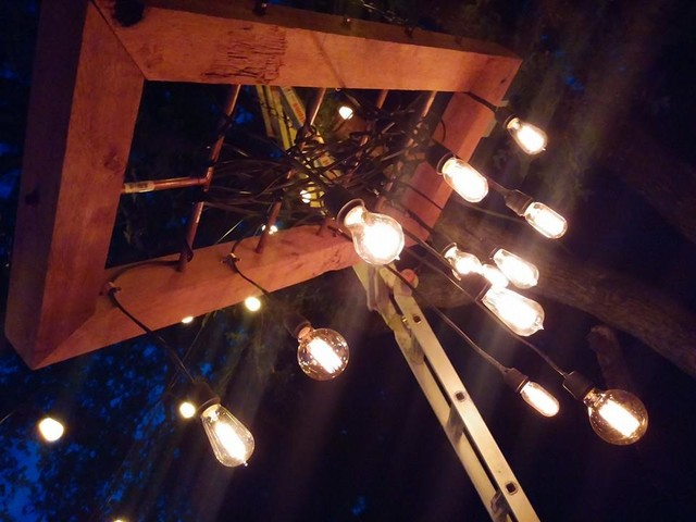outdoor chandelier eclectic patio by