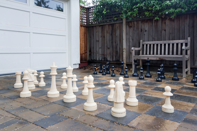 Outdoor Chess set on Paver Driveway eclectic-patio