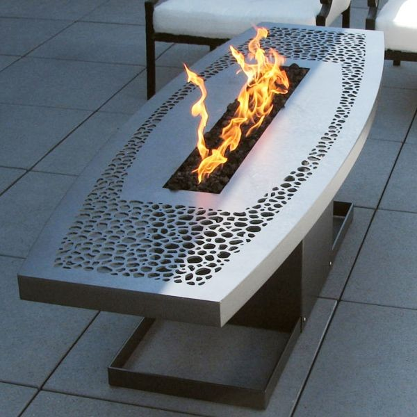 Outdoor Coffee Table Fire Pit Contemporary Patio Chicago By Home Infatuation