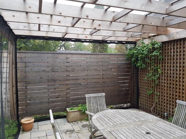 Outdoor Curtains In An Etobicoke Backyard Pergola Traditional Patio Tor