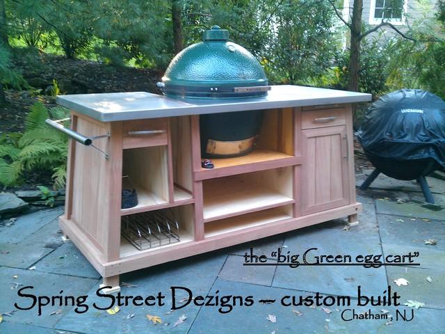 Outdoor Custom BBQ Cart Eclectic Patio