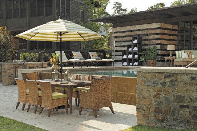Attractive Outdoor Dining Set With Patio Umbrella Wicker Chairs In N Dura Resin  Traditional Patio