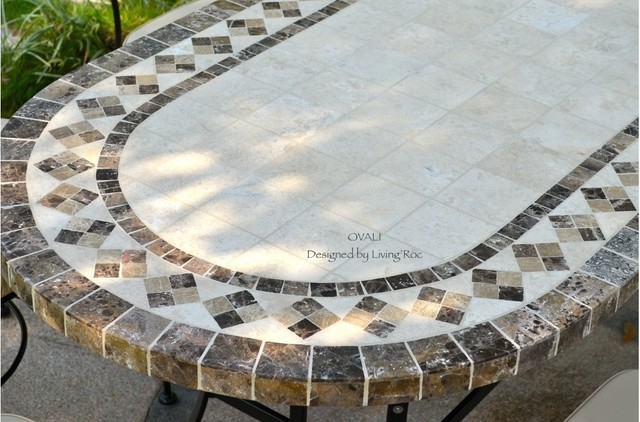 Outdoor dining table oval marble mosaic garden patio table 71 ovali craftsman patio tampa - Basics mosaic tiles patios ...