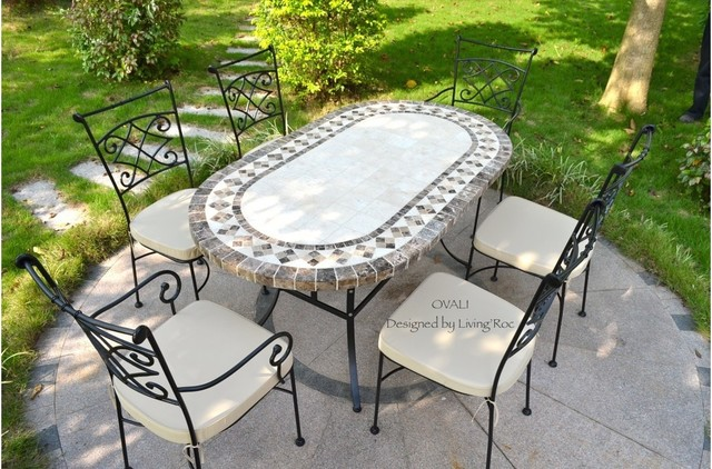 Outdoor dining table oval marble mosaic garden patio table 71 quot ovali