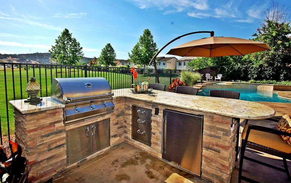Outdoor Dream BBQ Island - Tropical - Patio - Sacramento ... on Backyard Patio Grill Island id=72818