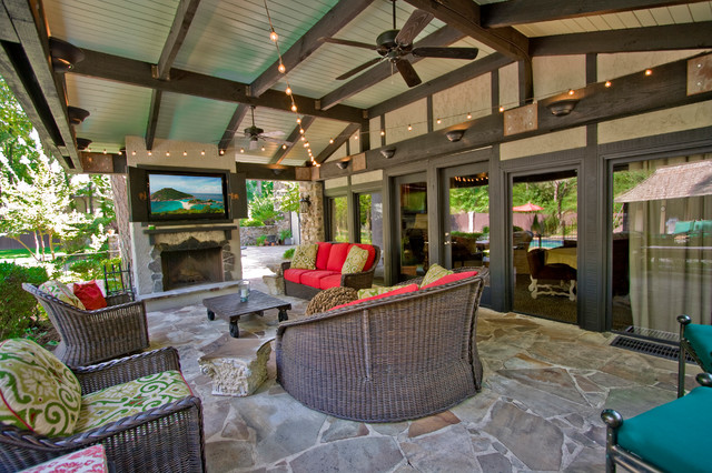 Outdoor Entertainment Area Traditional Patio Little