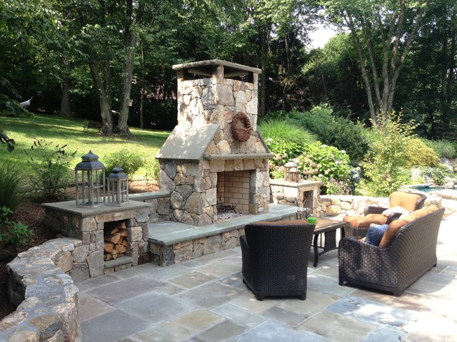 Outdoor entertainment area - traditional - patio - new york - by