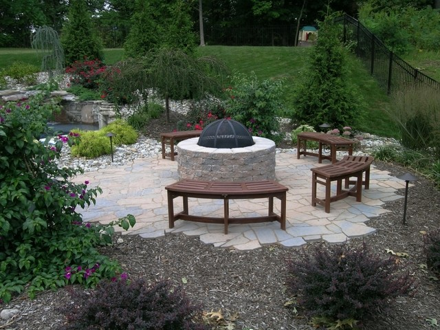 Outdoor Fire Pit With Paving Brick Patio Traditional Patio
