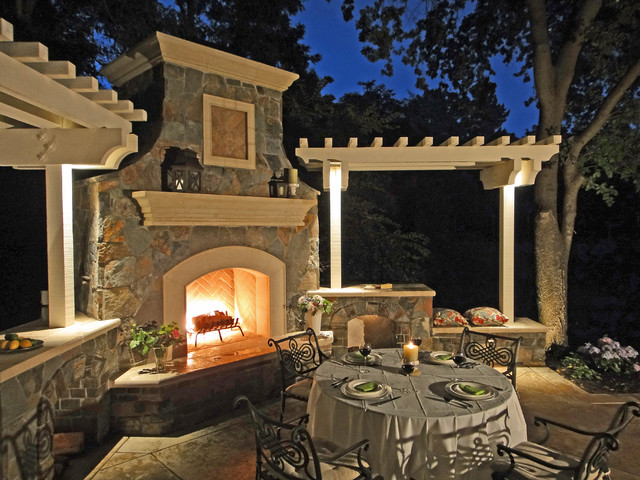Outdoor Fireplace Traditional Landscape Other By