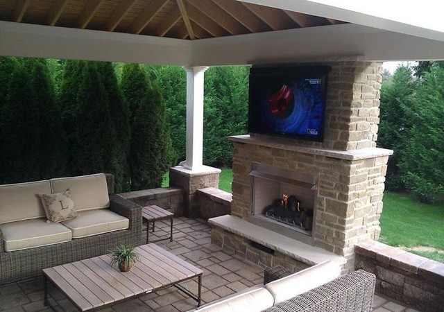 Outdoor fireplace and living room installation modern for Outdoor room with fireplace