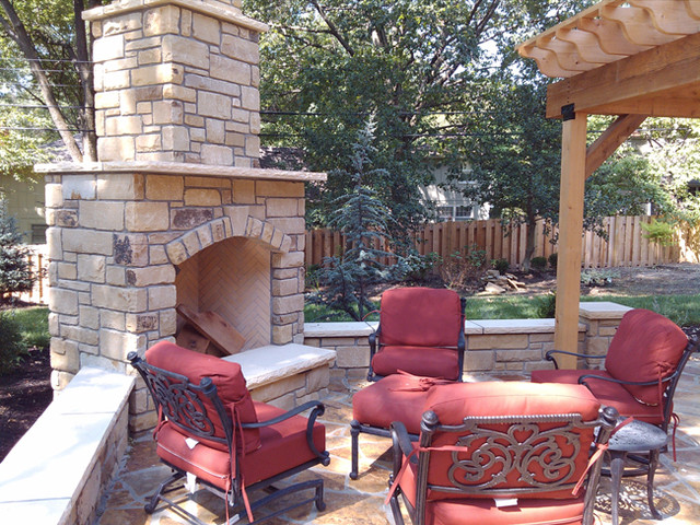 Outdoor Fireplace And Stone Patio Traditional Patio
