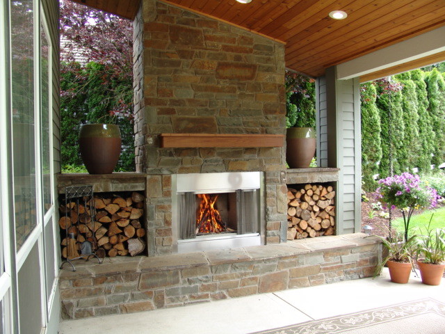 Outdoor Fireplace. Bull Mountain - Traditional - Patio - Portland ...