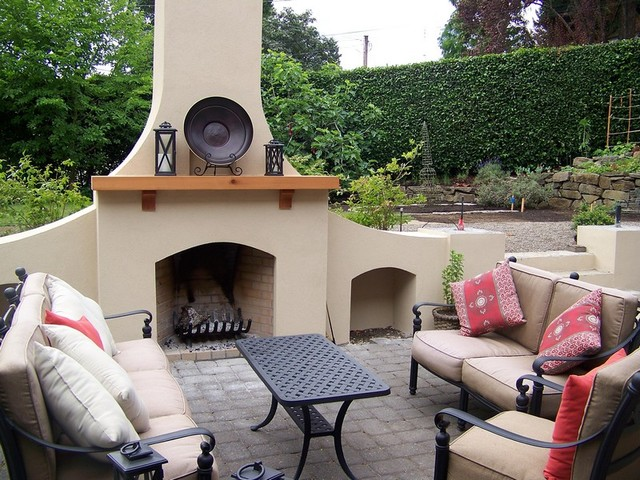 stucco fireplaces. outdoor fireplace in stucco traditional patio  Traditional Patio Portland by