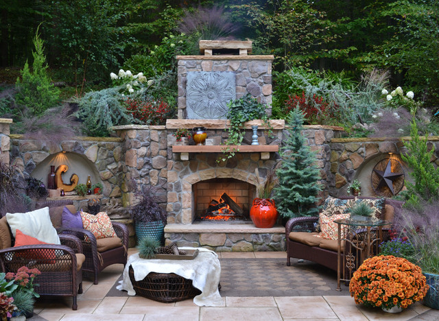 Woodland Retreat Rustic Patio Source · Outdoor Fireplace Rustic Patio DC  Metro By Mary Kirk