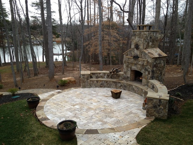 Awesome Outdoor Fireplace   Natural Stone Fireplace Craftsman Patio