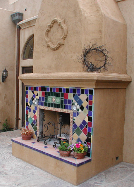 Outdoor Fireplace eclectic-patio